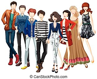 Fashion - Man and woman in modern clothes