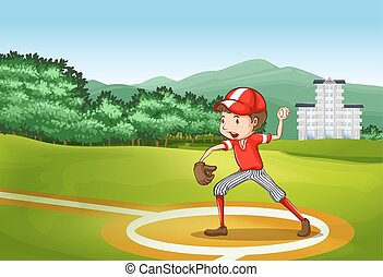 Baseball player throwing ball in the field