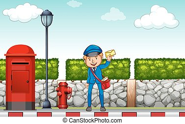 Postman holding a letter in his hand
