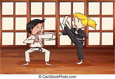 Martial arts - Man and woman practice martial arts in the...