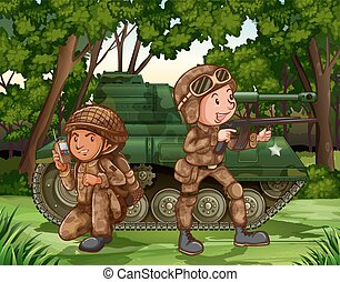 Soldiers - Two soldiers with armed by the tank