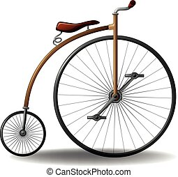 Retro bike - Vintage bicycle with one big wheel and one...