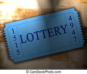 lottery - blue lottery ticket on an old paper texture