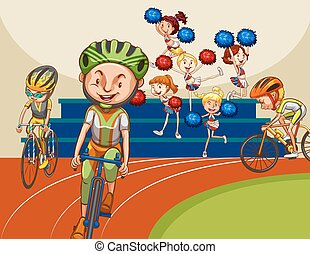 Bike racing - People racing bike with cheerleaders in the...