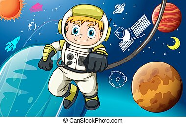 Spaceman - Astronaunt exploring in the space