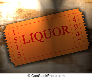 liquor - orange liquor ticket on an old paper texture