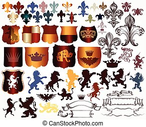 Vector set of luxury royal vintage - Heraldic collection of...