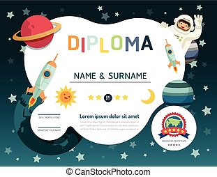 Certificate kids diploma, kindergarten template layout space...
