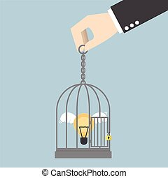 Light bulb of idea locked in a cage