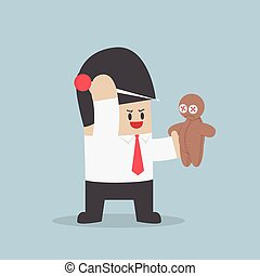 Businessman try to prick needle into a voodoo doll, VECTOR,...