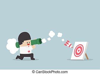 Businessman use bazooka rocket launcher destroy the target,...