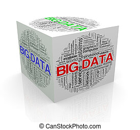 3d cube word tags wordcloud of big data - 3d rendering of...