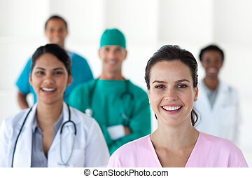 International medical team isolated on a white background