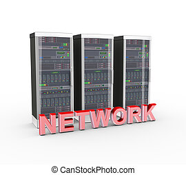 3d text network and computer network servers - 3d rendering...