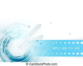 Technological abstract background with circle, arrows and...