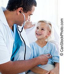 macho, doutor, examinando, criança