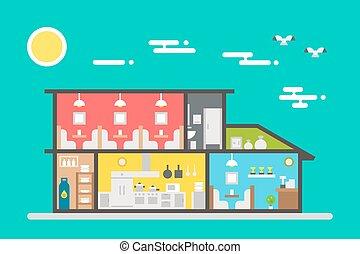 Flat design of restaurant interior
