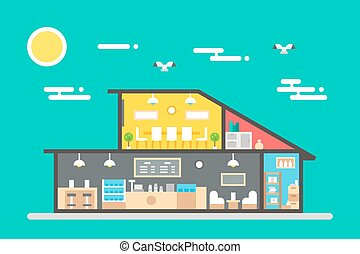 Flat design of coffee shop interior illustration vector