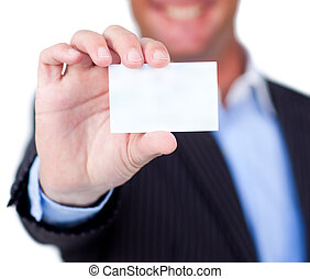 Close-up of a businessman holding a white card isolated on a...