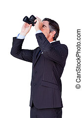 Confident businessman looking through binoculars isolated on...