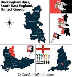 Buckinghamshire, South East England, UK - Vector map of...