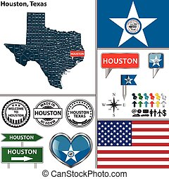 Houston, Texas - Vector set of Houston, Texas in USA with...