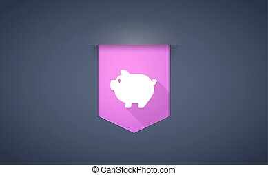 Long shadow ribbon icon with a pig