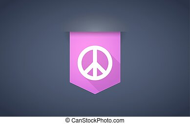 Long shadow ribbon icon with a peace sign