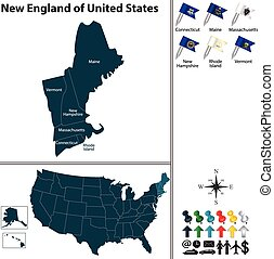 New England of United States - Vector set of New England of...