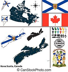 Map of Nova Scotia, Canada - Vector map of state Nova Scotia...