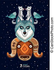 Vector illustration of wild totem animal Husky, wolf, musk...
