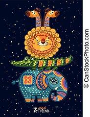 Wektor, lew, Ilustracja, dziki, żyrafa, Totem, słoń,...