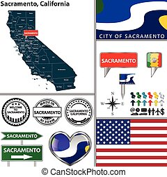Sacramento, California - Vector set of Sacramento,...