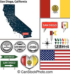 San Diego, California - Vector set of San Diego, California...