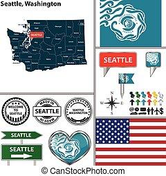 Seattle, Washington - Vector set of Seattle, Washington in...