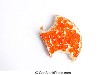 Red salmon caviar sandwich with butter