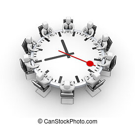 Meeting Table in the form of clock - The business meeting...