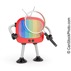 Tv robot with magnify glass Isolated on white