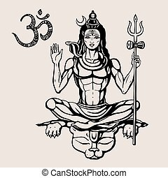 Hindu god Shiva - Lord Shiva Hindu god Pose meditation....