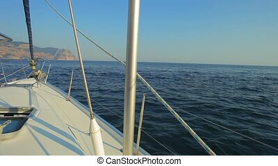 Board The Yacht During The Turn. - Sailing yacht making a...