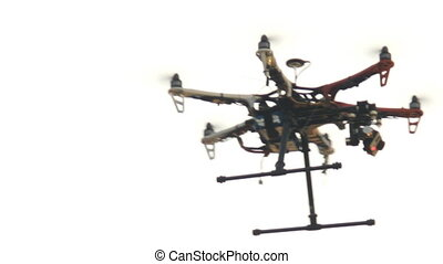 six engine drone with a camera - six engine drone flies and...