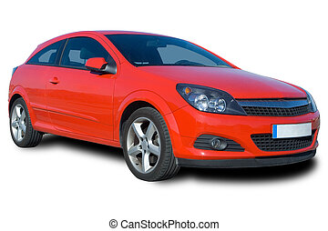 Red Car - Front-side view of a red car isolated on white