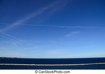 long jetty at Marseille - long jetty and blue sea at...