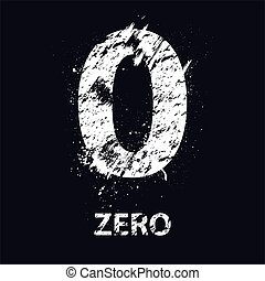 Grunge number zero - White grunge number zero with ink blots...