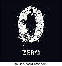 Grunge number zero - White grunge number zero with ink...