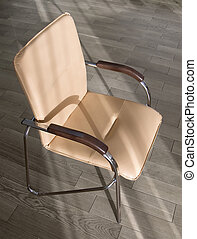 Office chair on the wooden floor. Subjects of office...