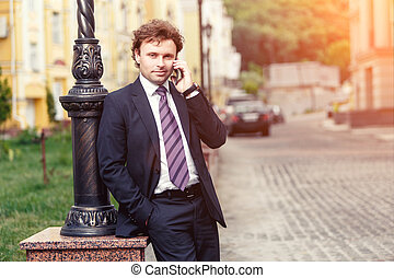 Handsome mature businessman outdoor - Handsome mature...