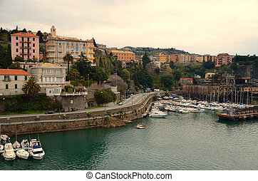 boats and road in Savona - many boats and road in Savona