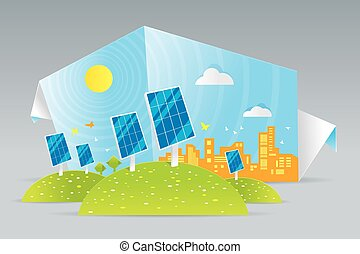 Eco solar panels - Illustration of eco solar panels on green...