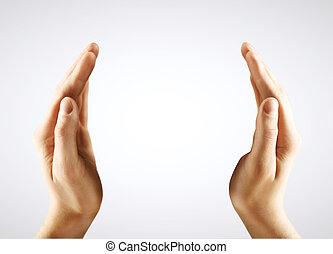 deux, mains,